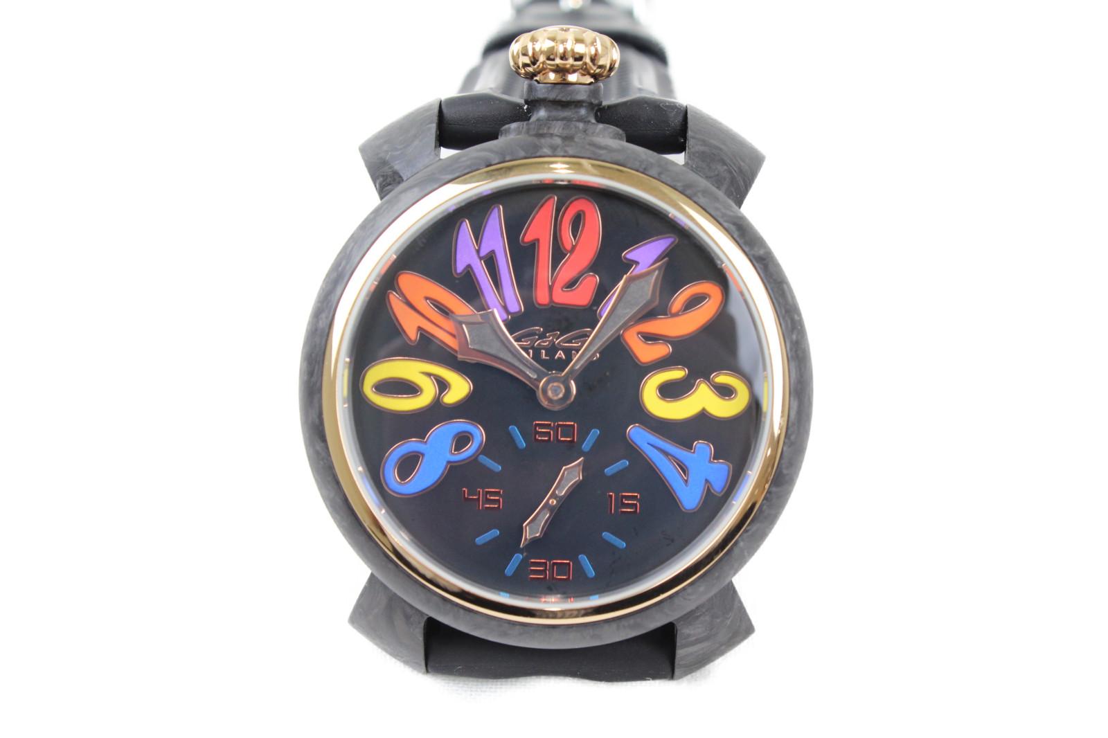 【世界300本限定】GaGamirano ガガミラノ マヌアーレ48mm 6061.01S 手巻き スモールセコンド カーボン ラバーベルト 革ベルト オレンジ カラフル メンズ 腕時計【中古】