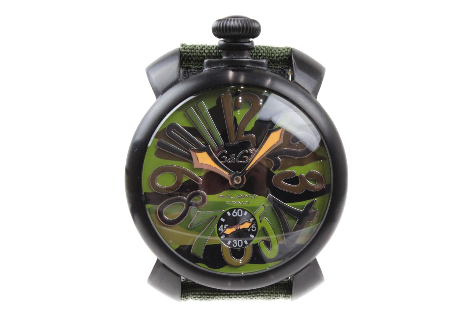 【世界500本限定】GaGamirano マヌアーレ48mm 5012.5S 手巻き スモールセコンド ステンレス コーデュラレザー 迷彩 ミリタリー カーキ メンズ 腕時計【中古】