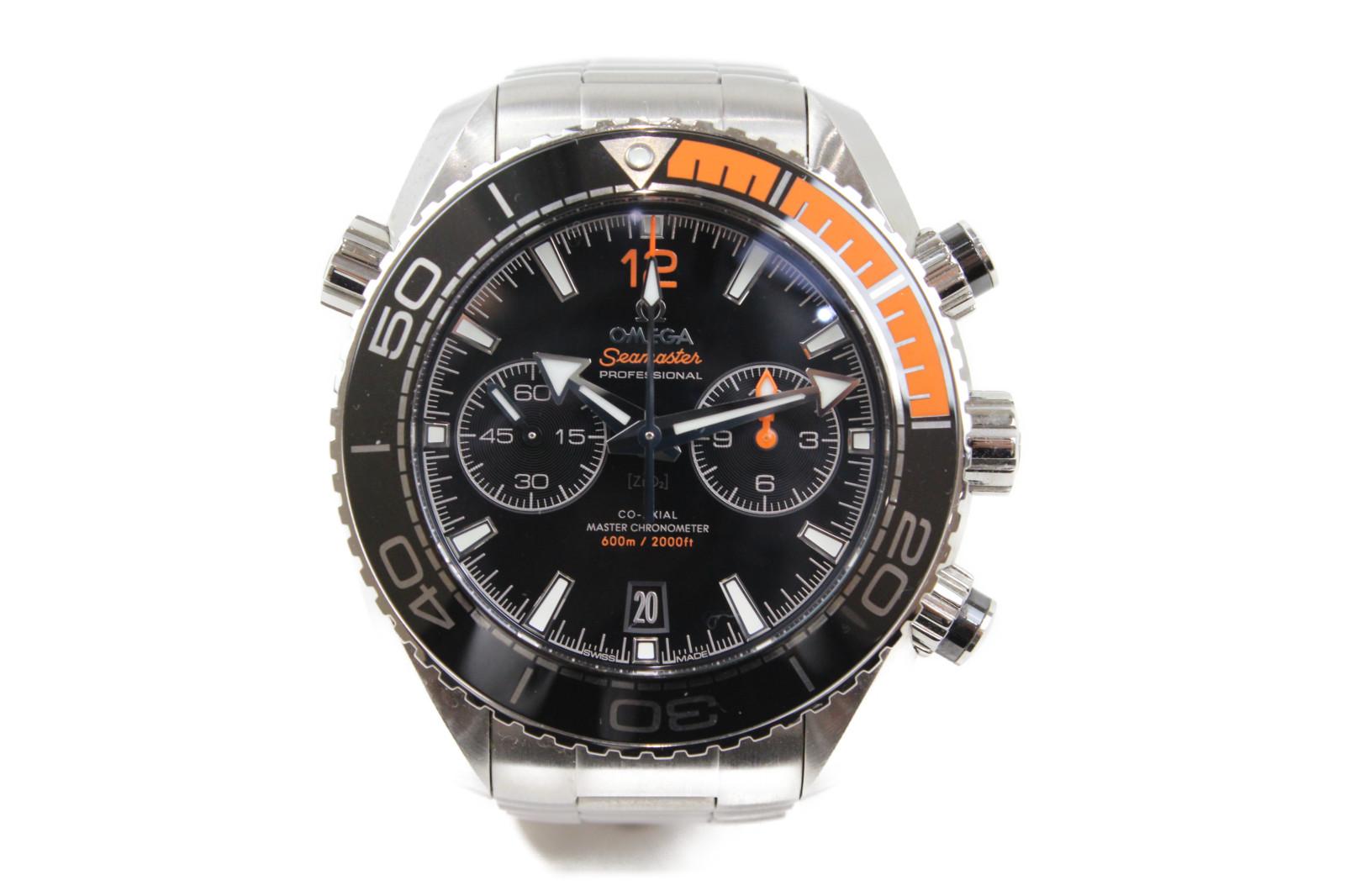 【ギャラ有】OMEGA オメガ シーマスター 600 プラネットオーシャン クロノグラフ  215.30.46.51.01.002 自動巻き デイト SS ステンレススチール ブラック オレンジ メンズ 腕時計【中古】
