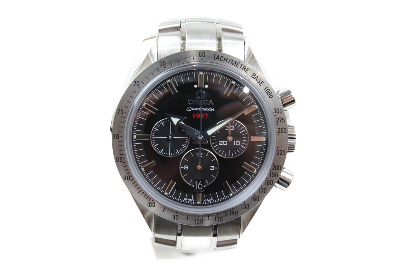 【生誕50周年記念モデル】OMEGA オメガ スピードマスター ブロードアロー 1957  321.10.42.50.01.001 自動巻き クロノグラフ デイト SS ステンレススチール ブラック メンズ 腕時計【中古】