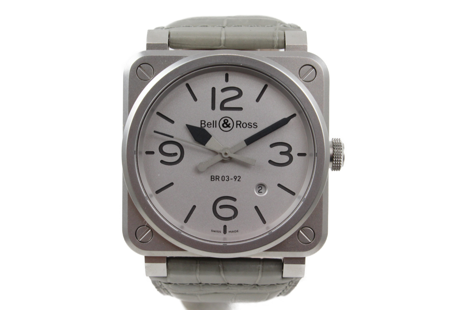 BELL&ROSS ベル&ロス アビエーション BR03-92-S-03040 自動巻き デイト SS ステンレススチール 革ベルト グレー シルバー メンズ 腕時計【中古】