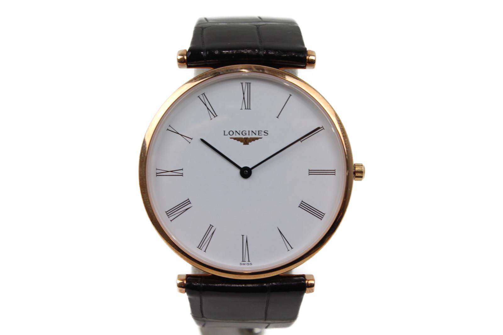 【ギャラ有】LONGINES ロンジン ラ グラン クラシック ドゥ L4.755.1 クオーツ SS ステンレススチール 革ベルト ゴールド ホワイト ブラック メンズ 腕時計【中古】