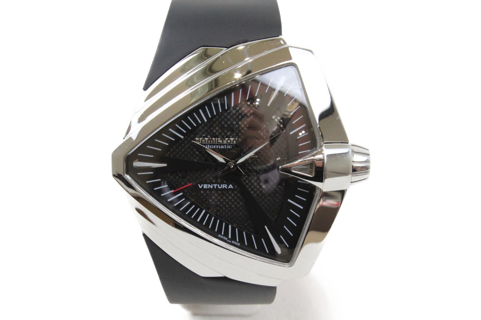 HAMILTON ハミルトン ベンチュラXXL H246551 自動巻き SS ステンレススチール ラバー ブラック メンズ 腕時計【中古】