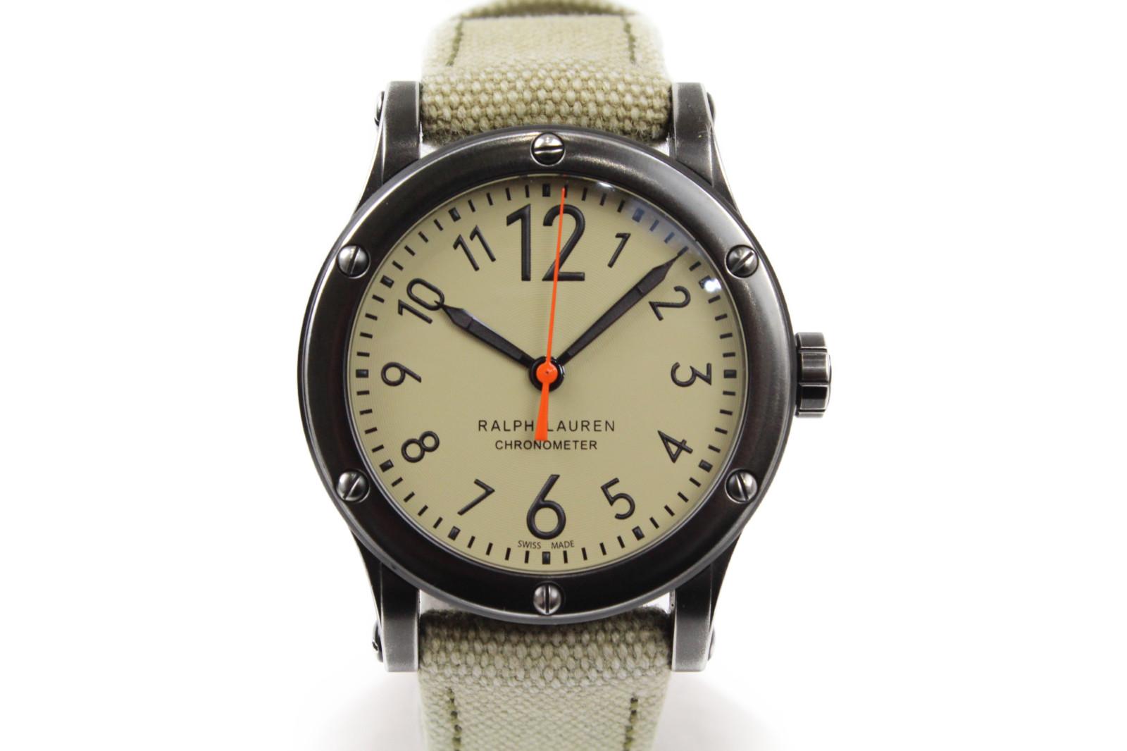 【販売証明書付】RALPH LAUREN ラルフローレン ラルフローレンクロノメーター RLR0250901 自動巻き ステンレス カーキ ブラック メンズ 腕時計【中古】