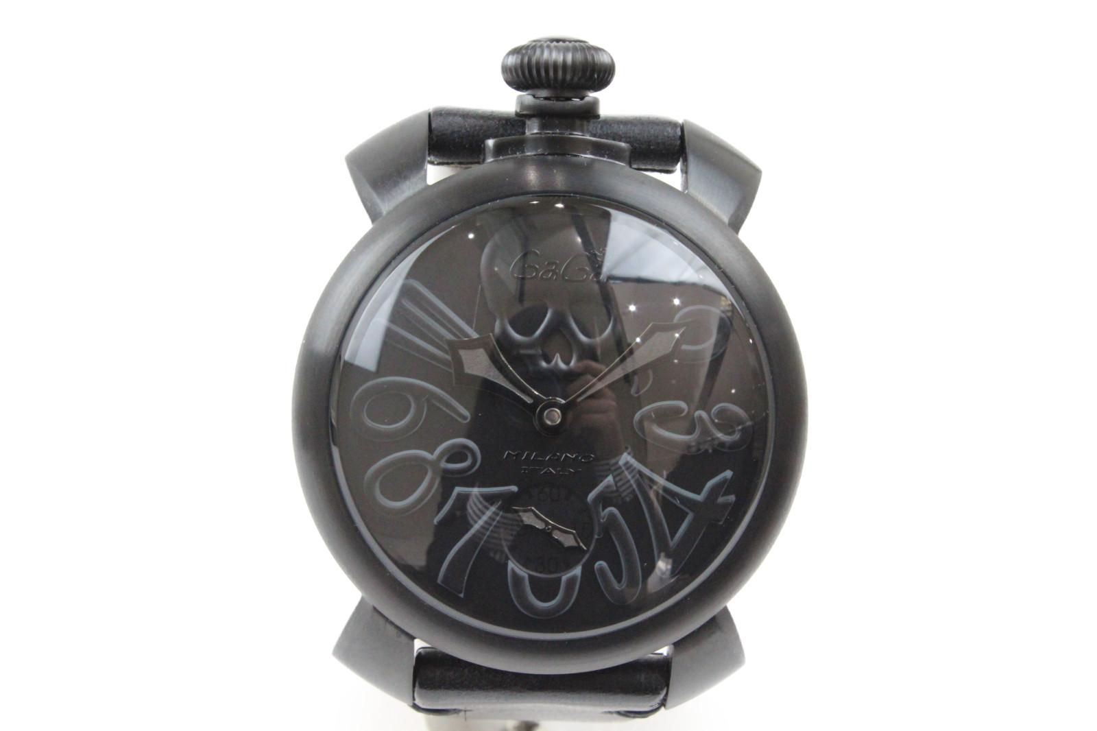 GaGamilano マヌアーレ アートコレクション 48mm 5012ART.1S ステンレススチール 革ベルト ブラック ドクロ メンズ 腕時計【中古】