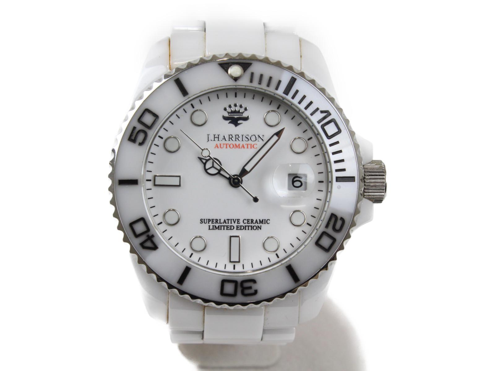 JOHN HARRISON ジョンハリソン JH-032 自動巻き デイト セラミック ステンレススチール ホワイト メンズ 腕時計【中古】