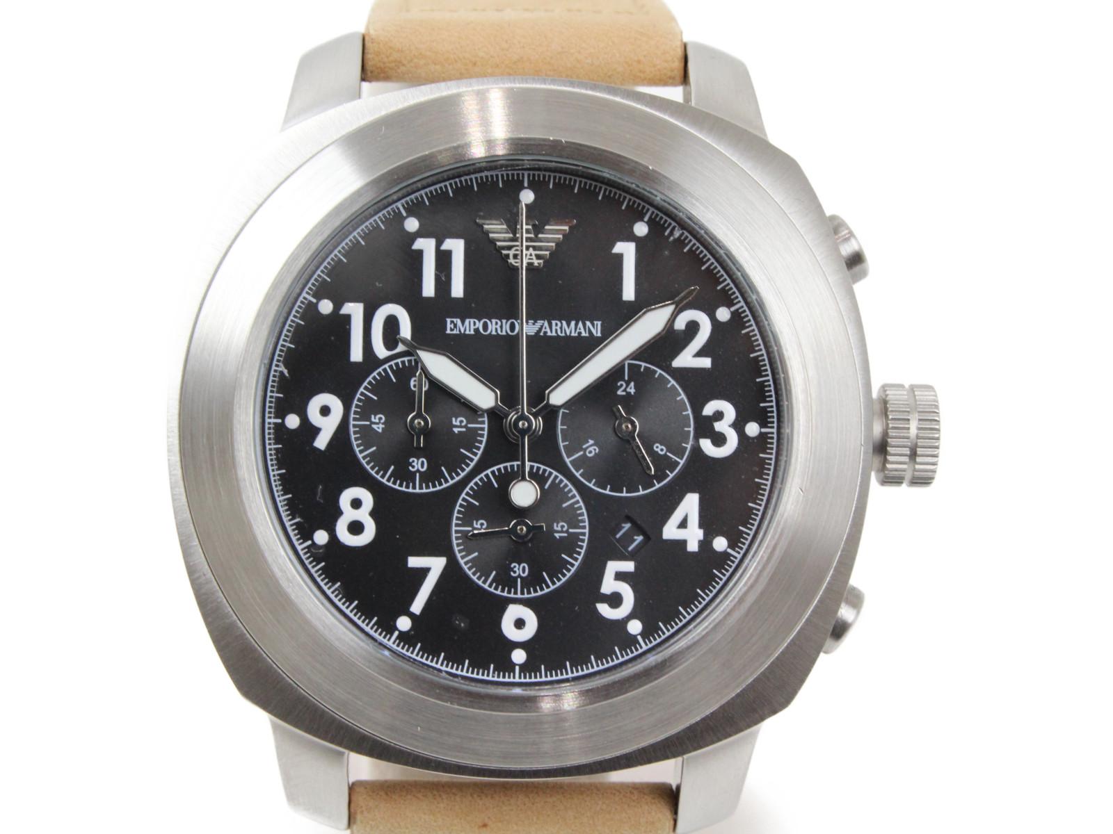 EMPORIO ARMANI エンポリオ アルマーニ AR6060 クオーツ クロノグラフ デイト SS ステンレススチール 革ベルト ブラック メンズ 腕時計【中古】