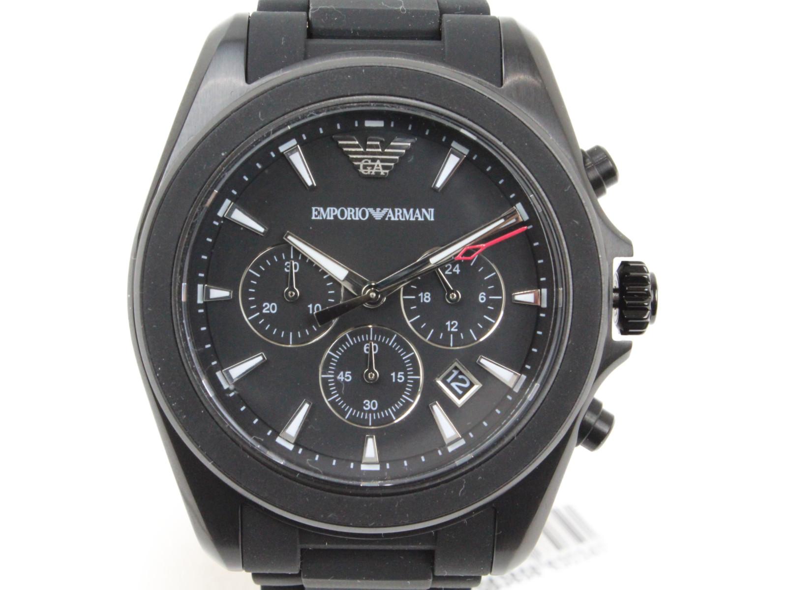 EMPORIO ARMANI AR6092 クオーツ クロノグラフ デイト SS ステンレススチール ラバー ブラック メンズ 腕時計【中古】