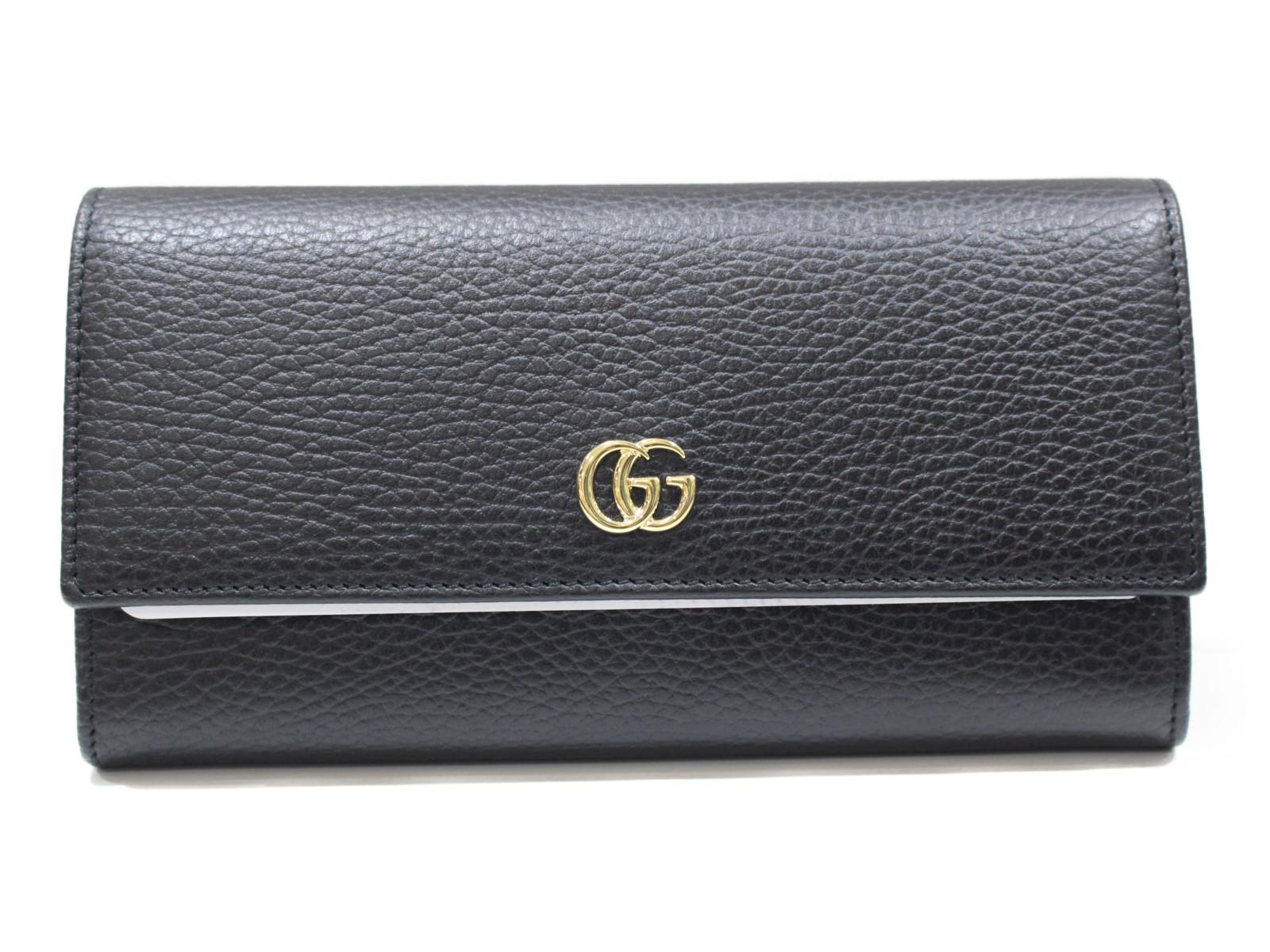 【未使用品】 Gucci グッチ GGマーモント コンチネンタルウォレット 456116 ブラック×ゴールド金具 レザー レディース ユニセックス メンズ ウィメンズ 長財布 ボタン式【中古】