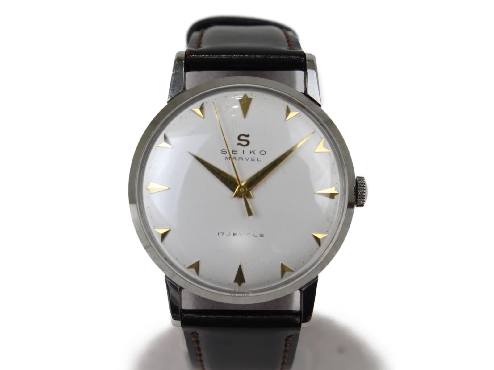 【SEIKO セイコー】マーヴェル J14004手巻き時計 アンティーク革ベルト オシャレ腕時計 【中古】