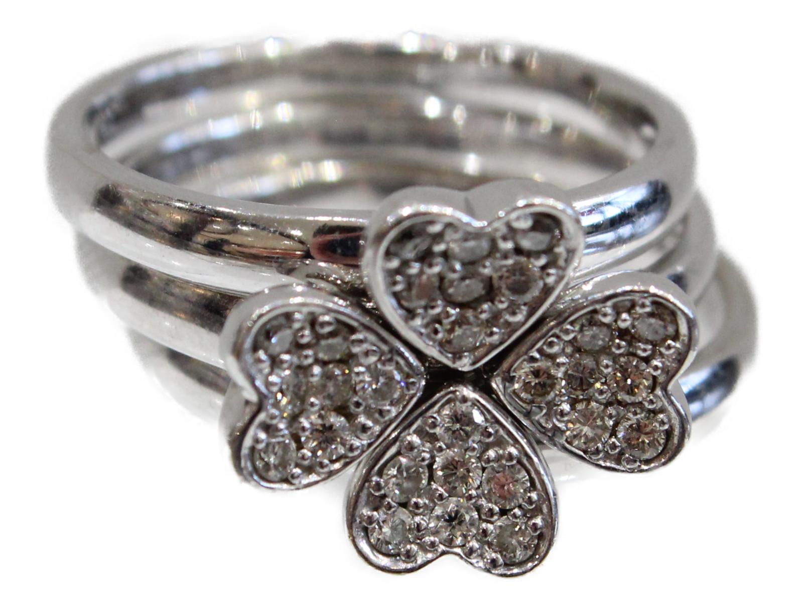 3連リングダイヤモンド0.3ct K18WG8.8g 12.5号シンプル 四つ葉クローバープレゼント包装可 【中古】