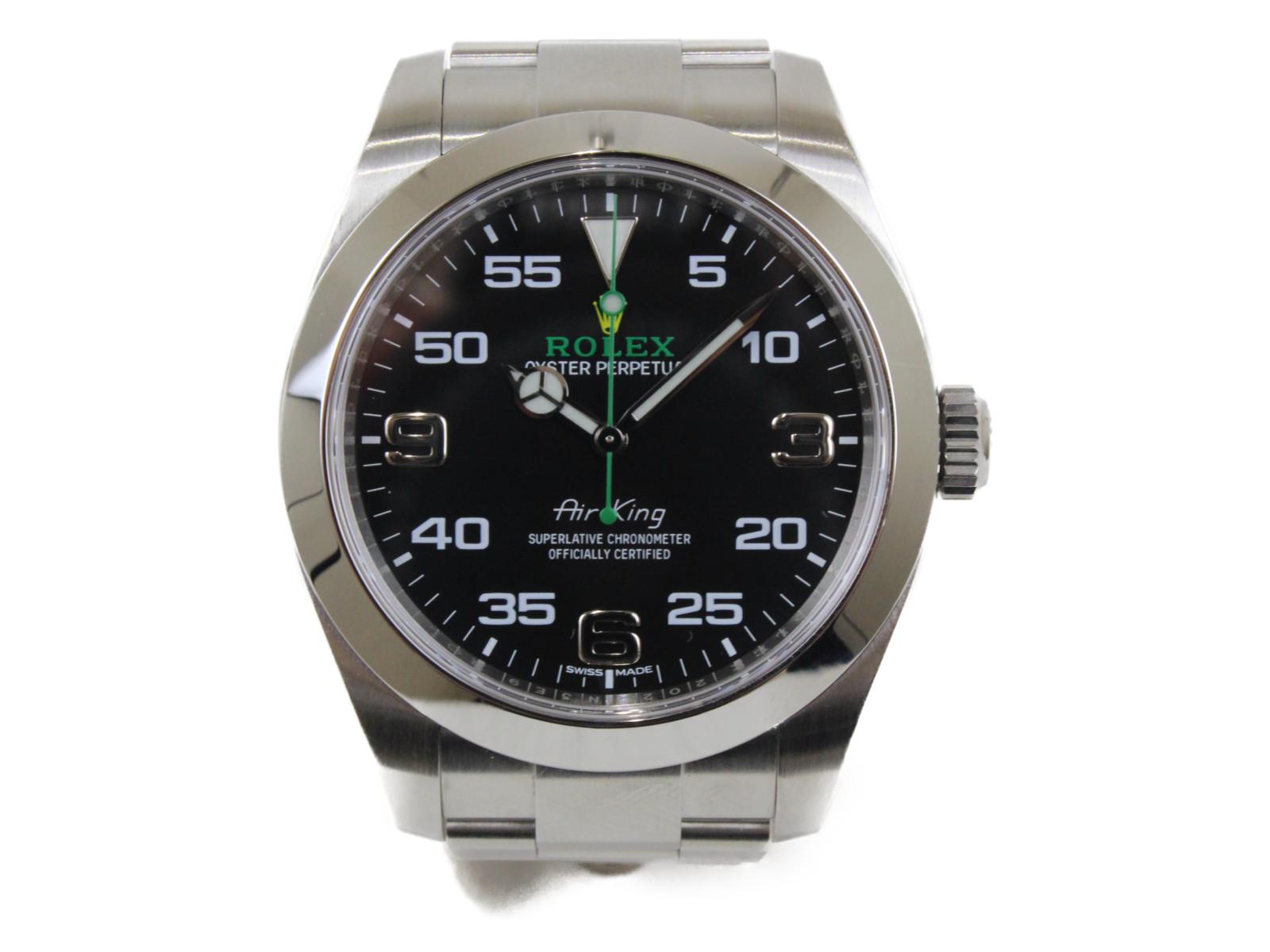 ROLEX ロレックス エアキング 116900 ランダム 2016年 自動巻き SS ステンレススチール ブラック メンズ 腕時計【中古】