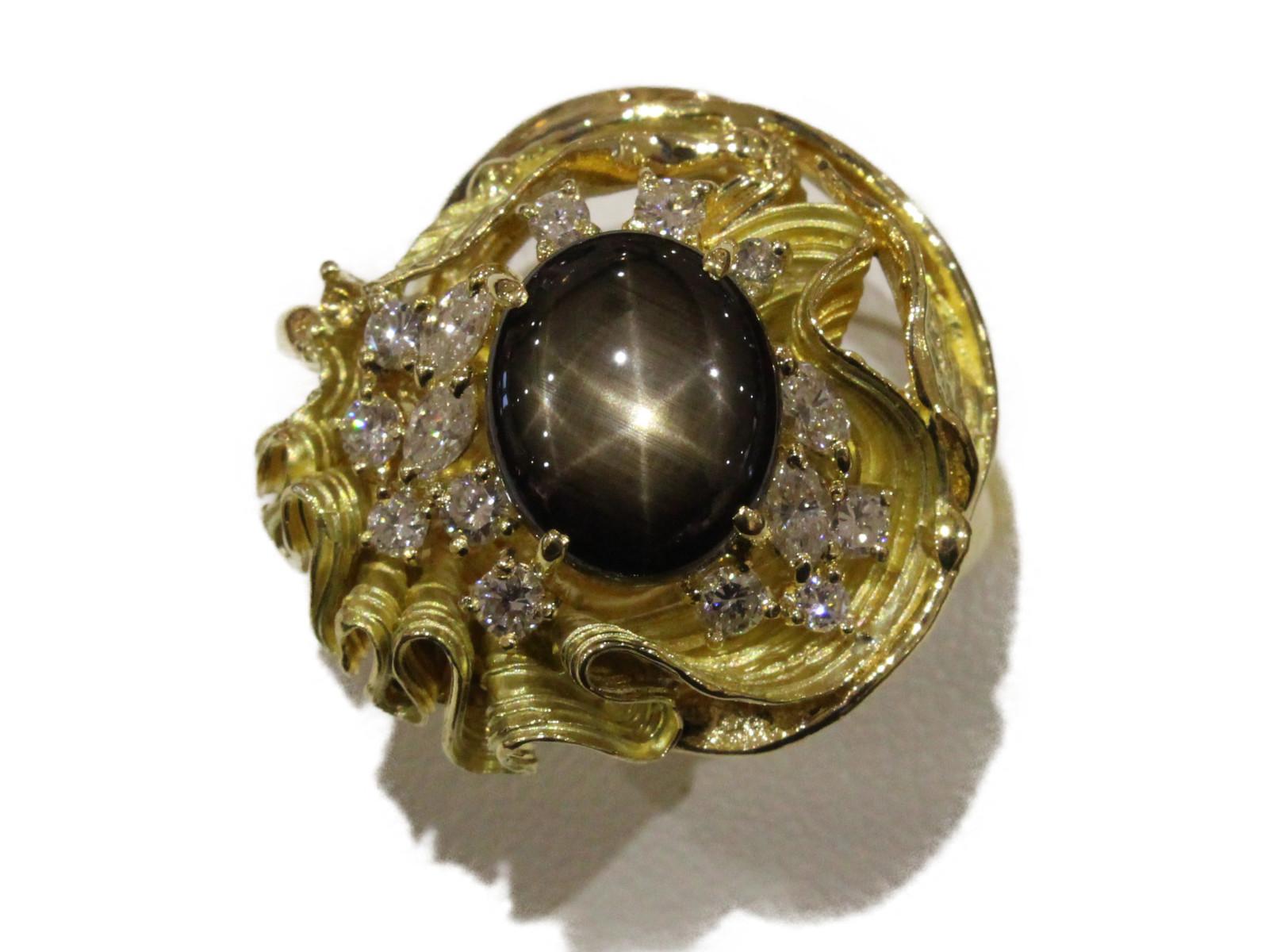 ブラックスターサファイアリングブラックスターサファイア4.95ct ダイヤモンド0.76ct K1817.9g 17号 ゴージャスプレゼント包装可 【中古】