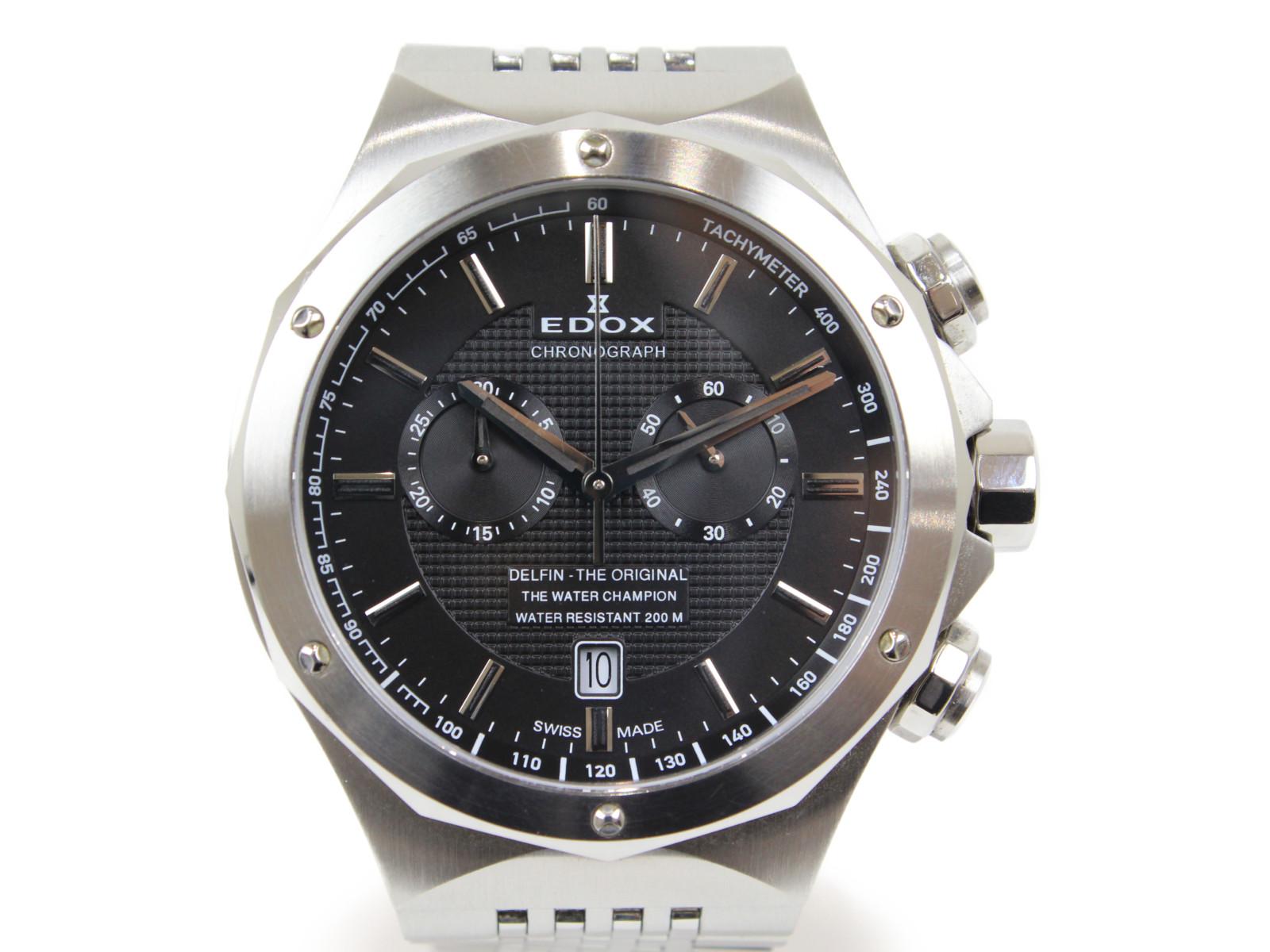 EDOX エドックス デルフィン クロノグラフ 10108-3-NIN クオーツ デイト SS ステンレススチール ブラック メンズ 腕時計【中古】
