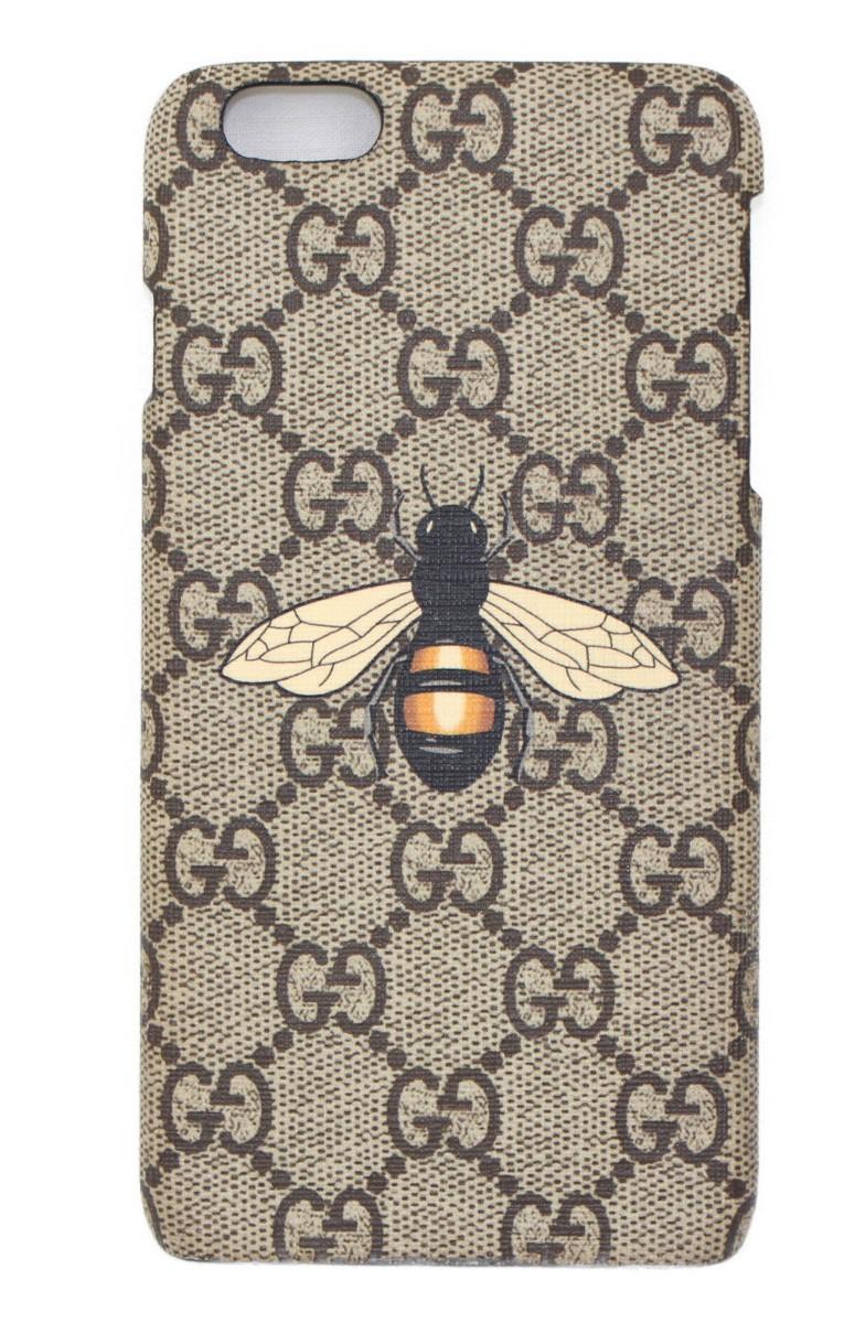 Gucci グッチ iphone6 Plusケース   ベージュ×ブラック系   レディース ユニセックス メンズ ウィメンズ 小物 カバー スマホ ビー 蜂【中古】