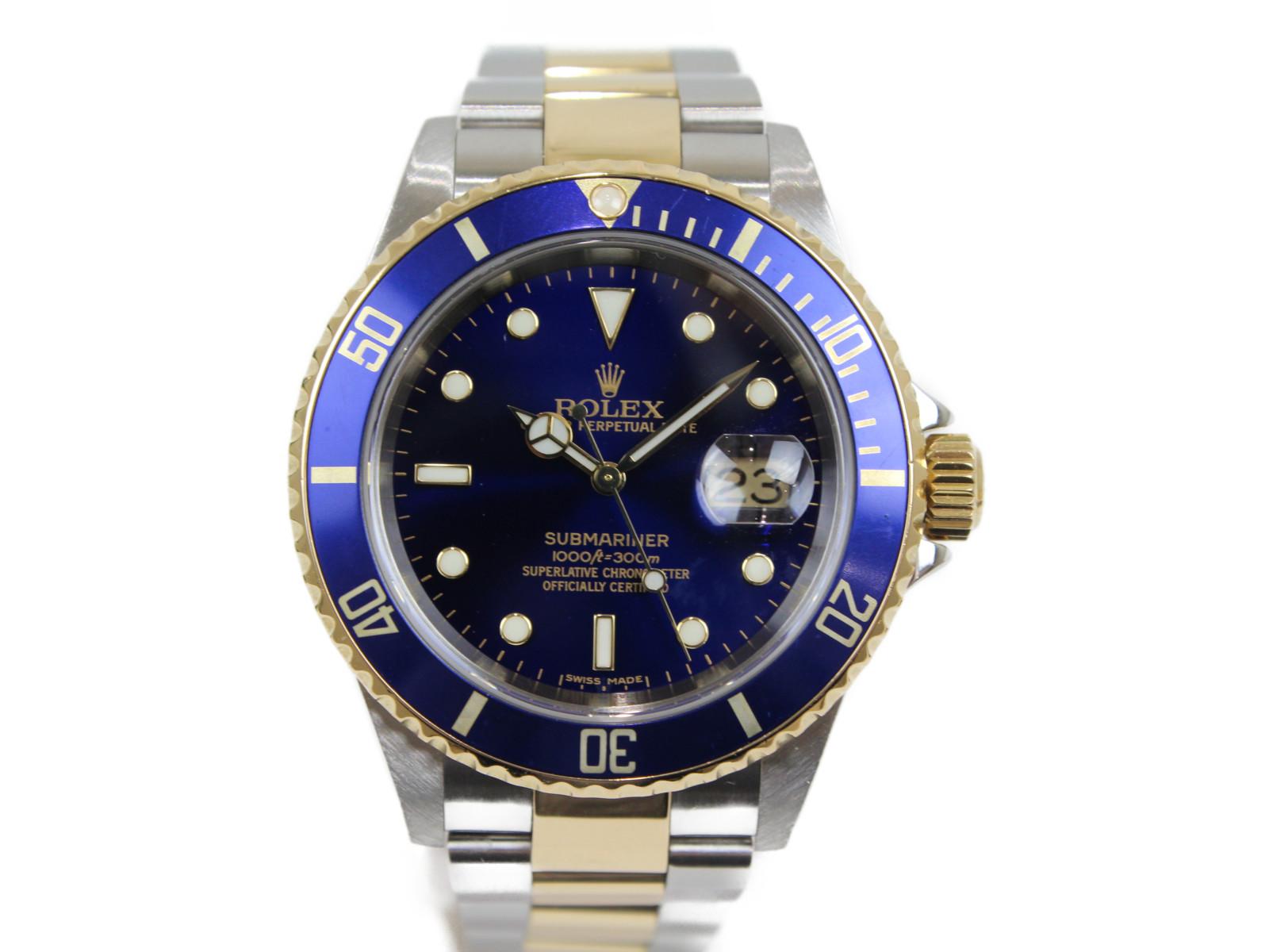 ROLEX ロレックス サブマリーナーデイト 16613 Z番 自動巻き 青サブ K18 イエローゴールド SS ステンレススチール コンビ メンズ 腕時計【中古】