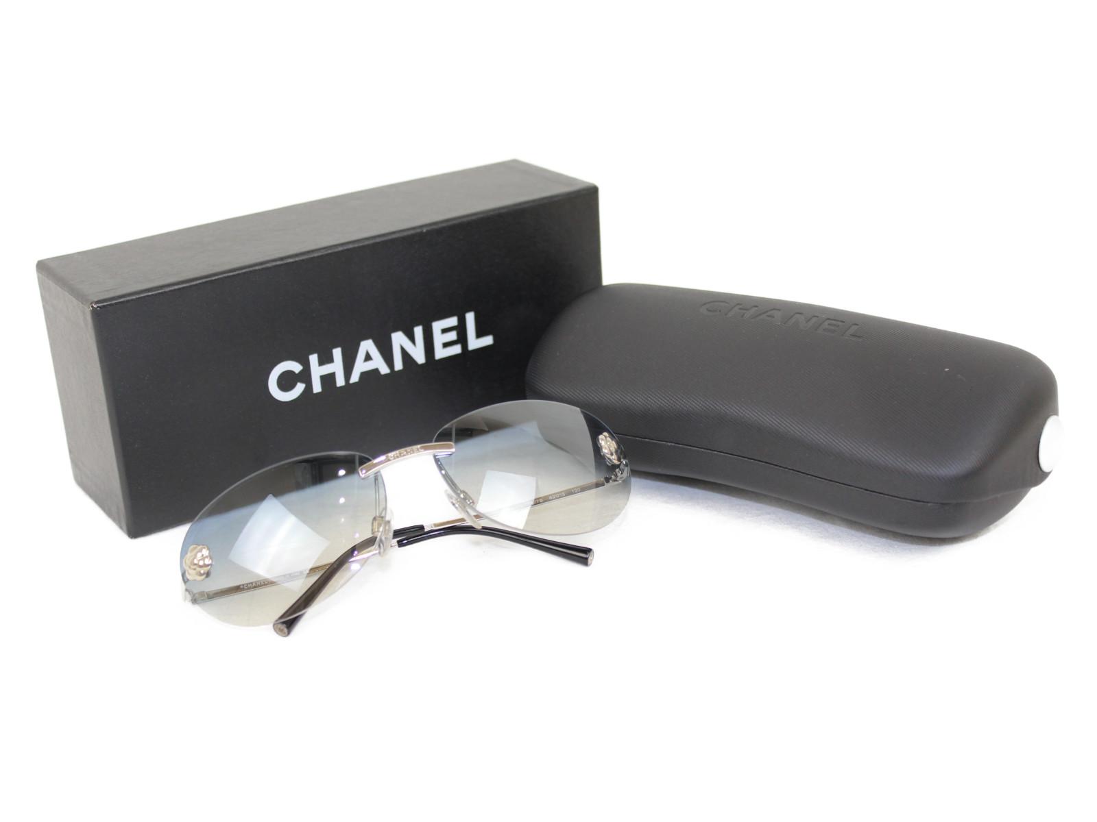 【箱あり】 CHANEL シャネル カメリアマークサングラス 4084 c.124/7B シルバー×グレー系   レディース ユニセックス メンズ ウィメンズ 小物 眼鏡 幅広 【中古】