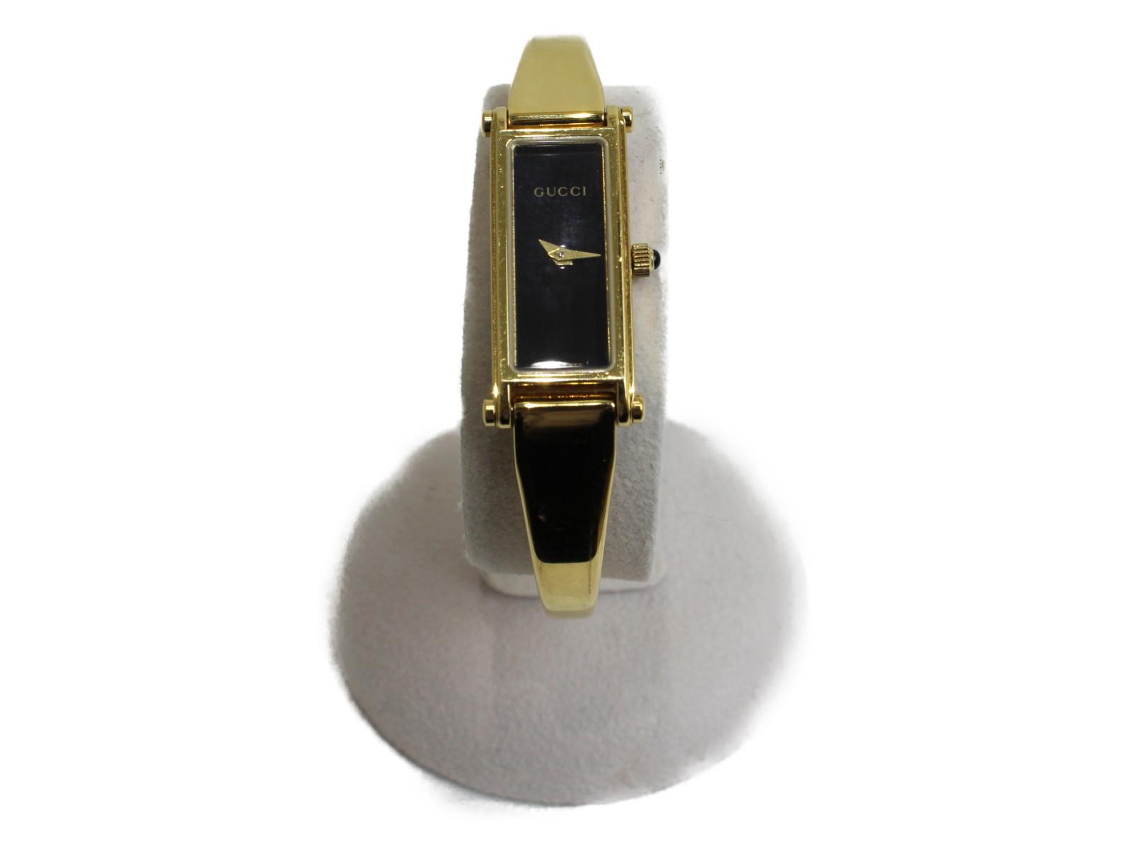GUCCI グッチ バングルウォッチ クオーツ  ステンレス ゴールド ブラック レディース 腕時計【中古】
