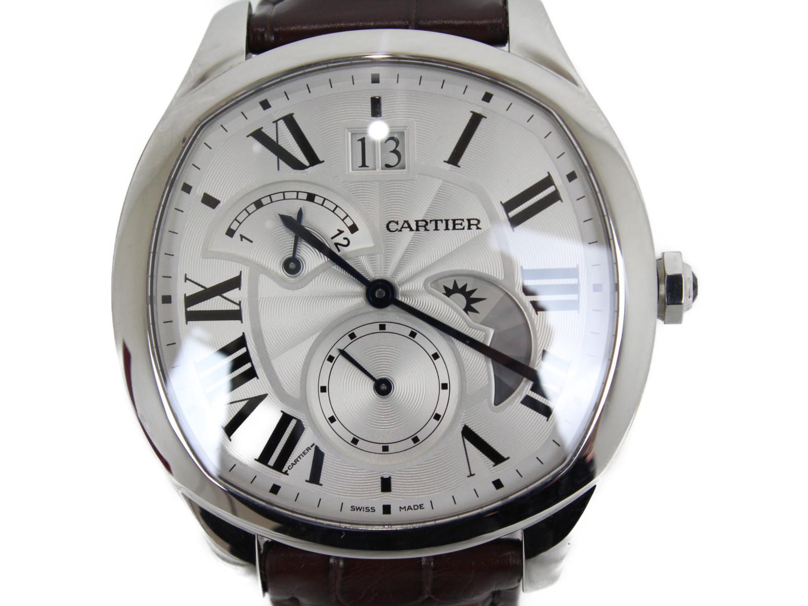 【ギャランティカード・取扱説明書あり】CARTIER カルティエ WSNM0005 ドライブドゥカルティエ 自動巻き ステンレス レザー ローマ数字 レディース 腕時計【中古】