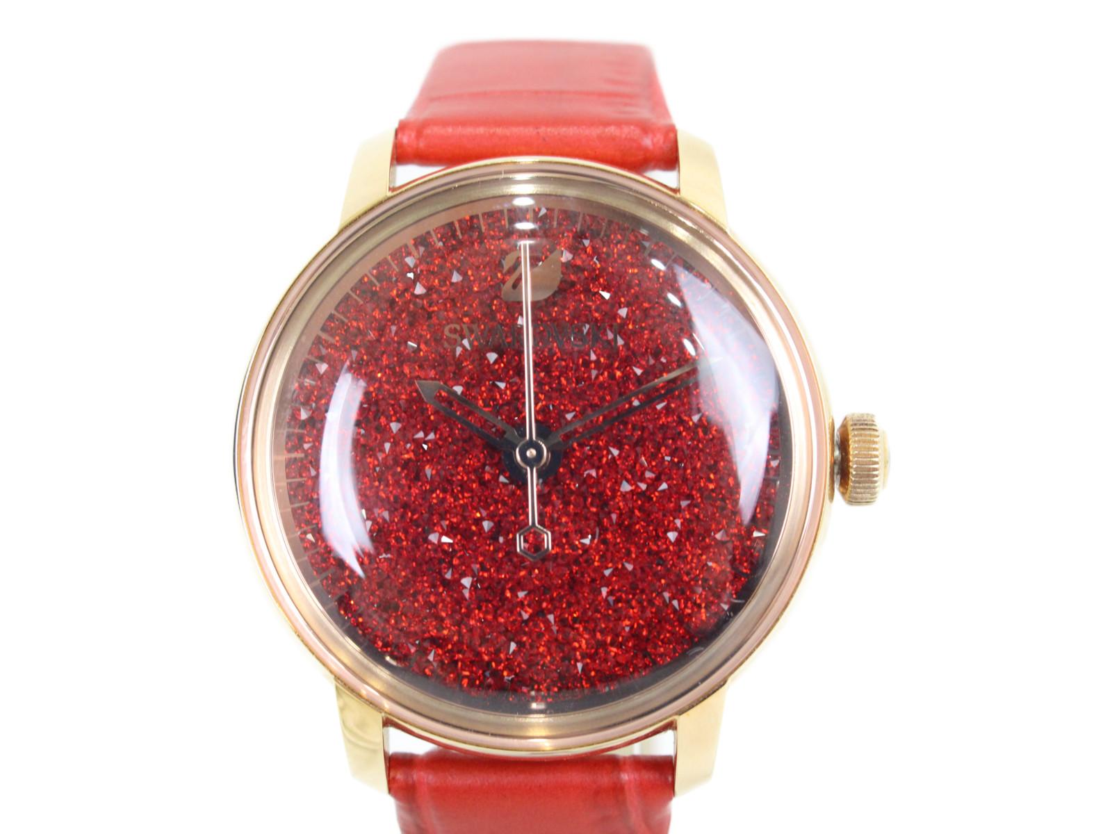 SWAROVSKI スワロフスキー Cristalline Hours ウォッチ 腕時計 5295380 クオーツ レッド ステンレススチール レザー レディース 【中古】