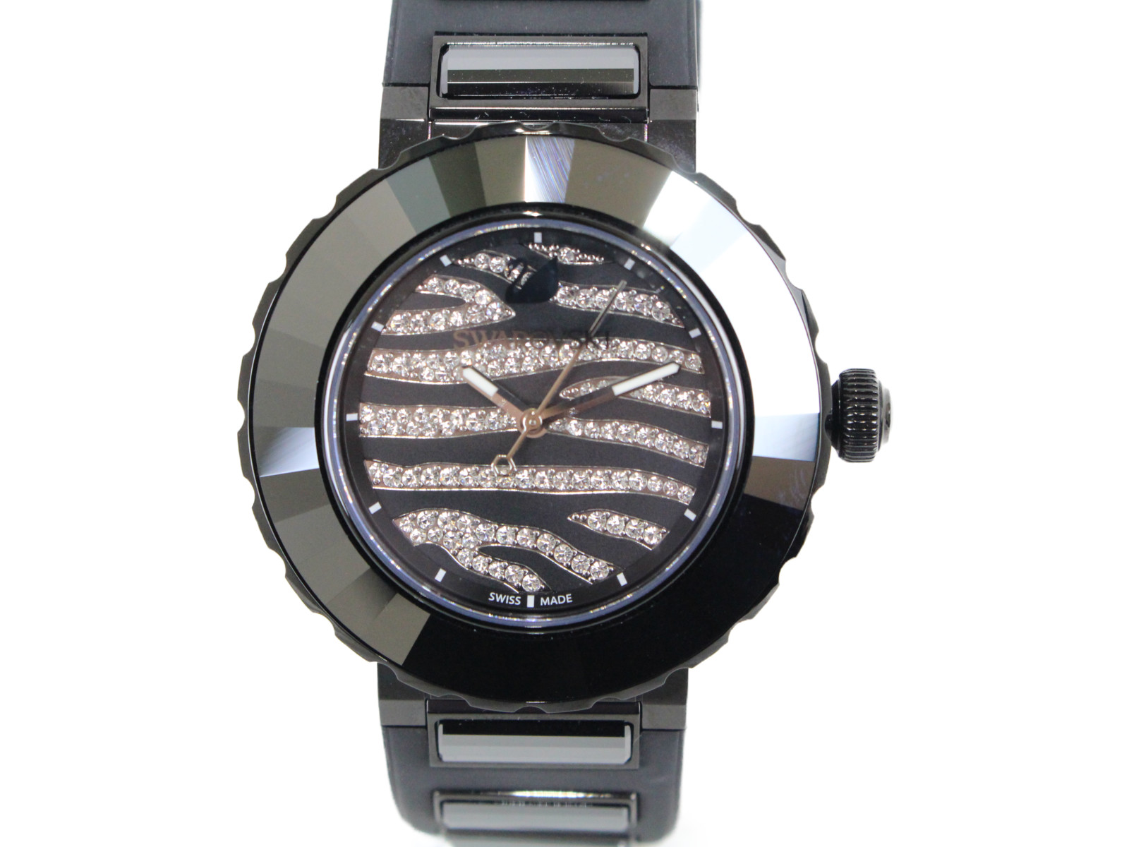 SWAROVSKI スワロフスキー New Octea Sport 5040563 ウォッチ 腕時計 ブラック ゼブラ ステンレスケース レディース 【中古】