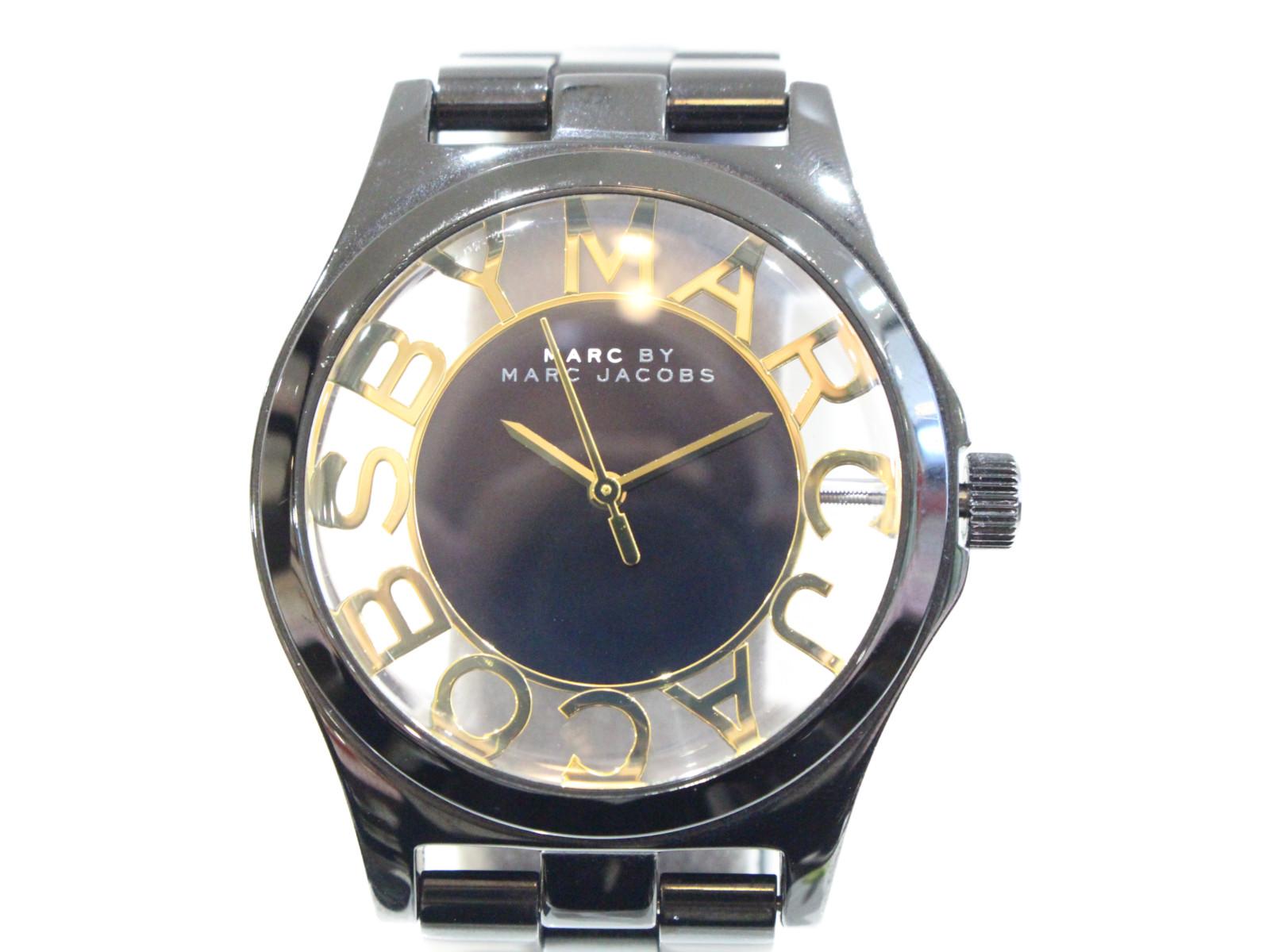 MARC BY MARC JACOBS マークバイマークジェイコブス MBM3255 ヘンリースケルトン ブラック クオーツ 腕時計【中古】