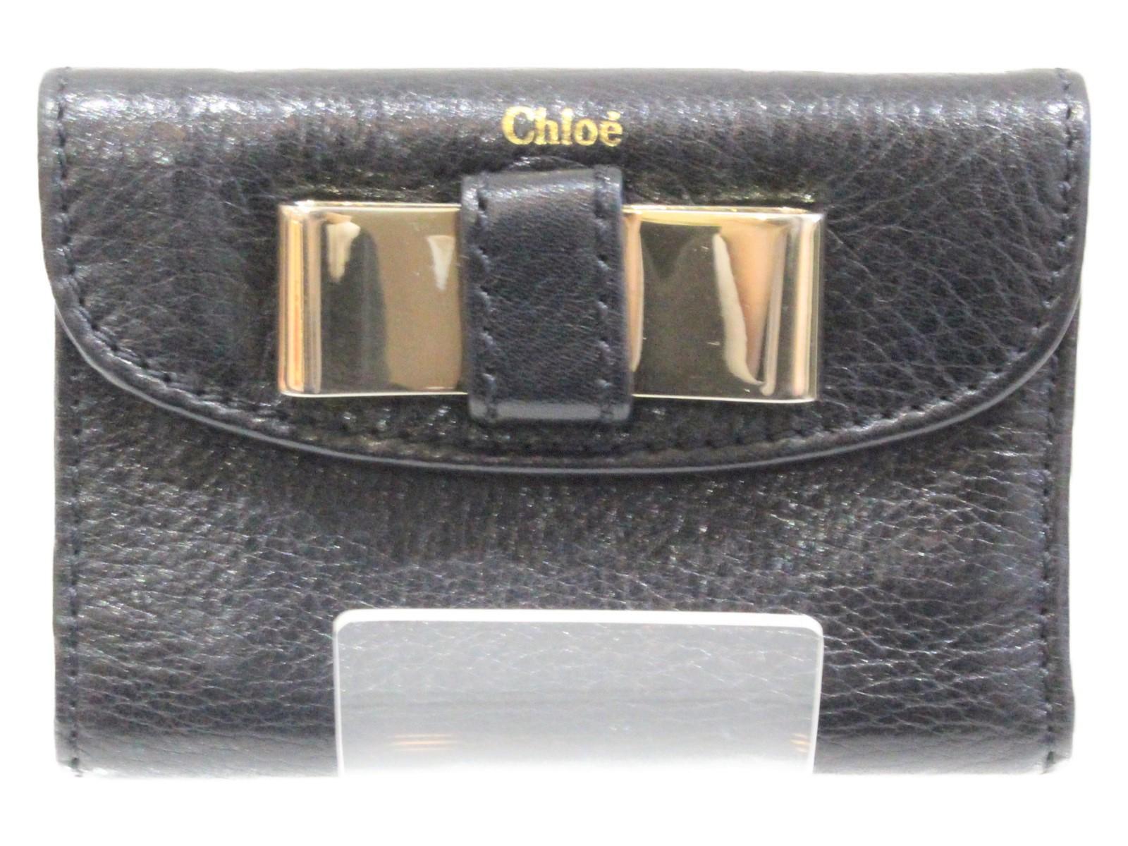 CHLO'E(クロエ)リリィリボンコンパクトウォレット ブラック三つ折り財布 プレゼント包装可【中古】