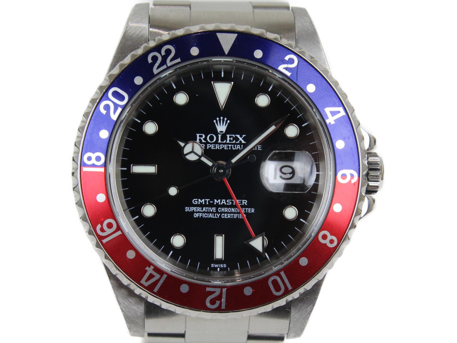 ROLEX GMTマスターI 16700 A番 SS ステンレススチール 自動巻き 腕時計 メンズ レディース ユニセックス 青赤 ペプシ【中古】