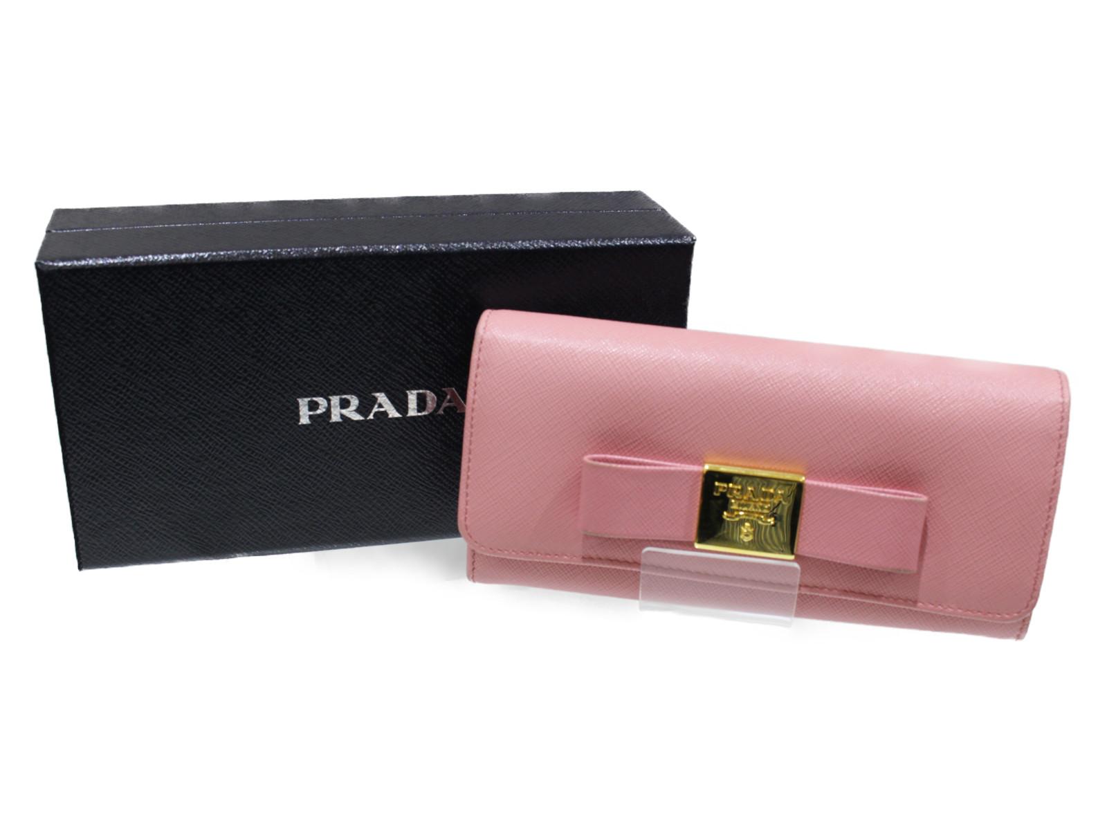 【箱、カードケース付き】PRADA サフィアーノ 1MH132 ピンク レザー レディース 長財布 【中古】