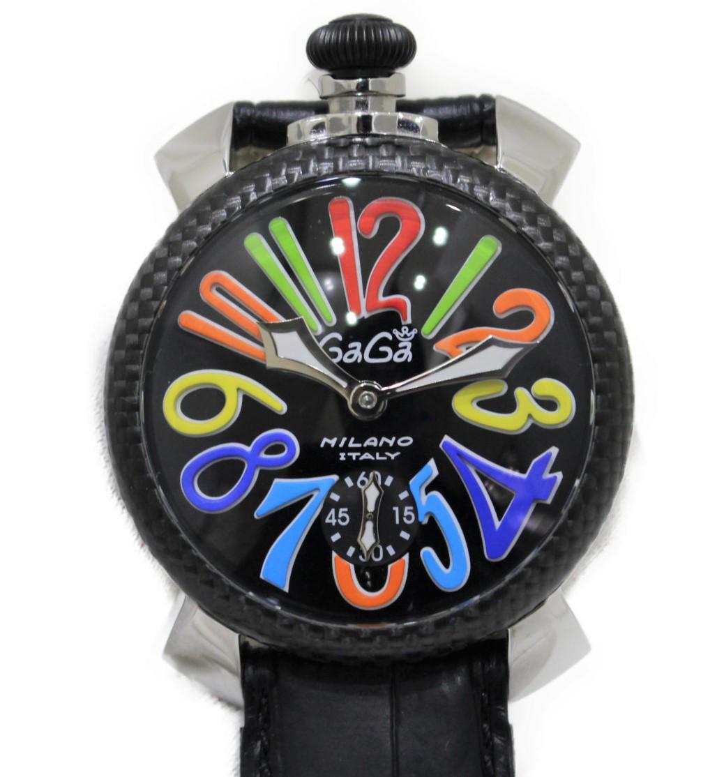GaGa MILANO マヌアーレ48mm 5015S  SS ステンレススチール/革ベルト 手巻き ブラック×マルチカラー メンズ ウィメンズ 腕時計【中古】