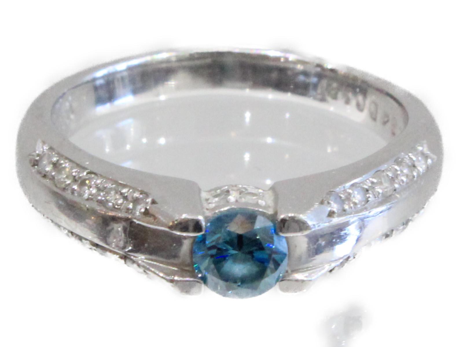 【鑑別書あり】Pt900 ブルーダイヤモンドリング   プラチナ Pt900 5.9gレディース メンズ ウィメンズ シンプル プレゼント かわいい 指輪【中古】