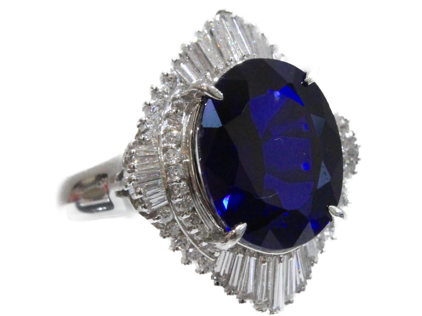 【ソーティングあり】Pt900 合成S10.41ct D1.21ctリング   プラチナ サファイア ダイヤモンド Pt900 15.4gレディース メンズ ウィメンズ シンプル プレゼント ゴージャス 豪華 珍しい 指輪 【中古】