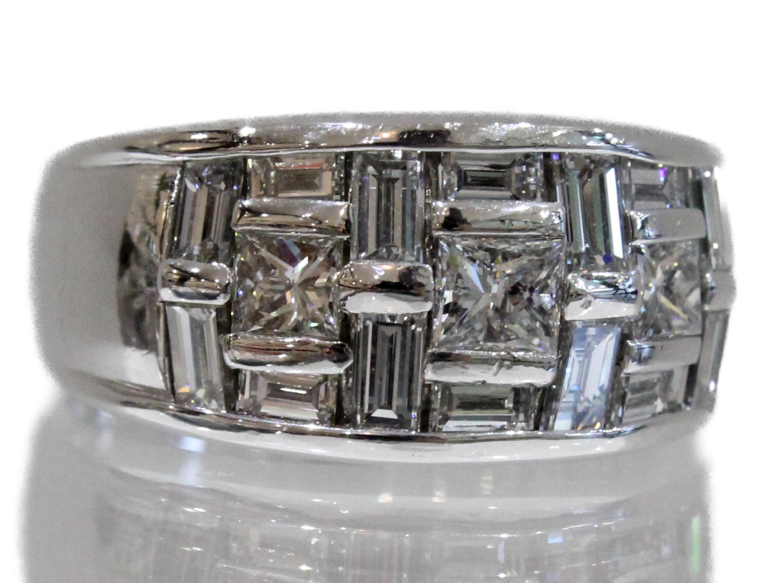 【☆新品仕上げ済☆】極めて美しいダイヤリングPt900 ダイヤモンド2.5ct15g 18号 男女兼用 シンプル上品 高級 ギフト包装可【中古】
