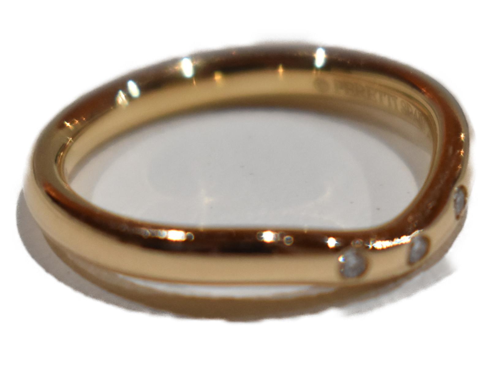 カーブドバンドリングK18 ダイヤモンド 2.3g 4号小さめ シンプル 人気ギフト包装可 【中古】