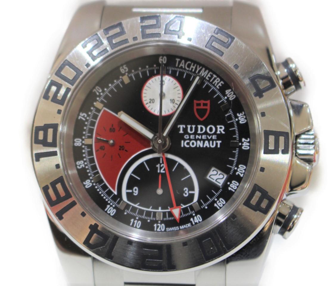 TUDOR アイコノート GMT クロノグラフ 20400  ステンレススチール SS 自動巻き ブラック×レッド デイト 2タイム メンズ ウィメンズ 腕時計 【中古】