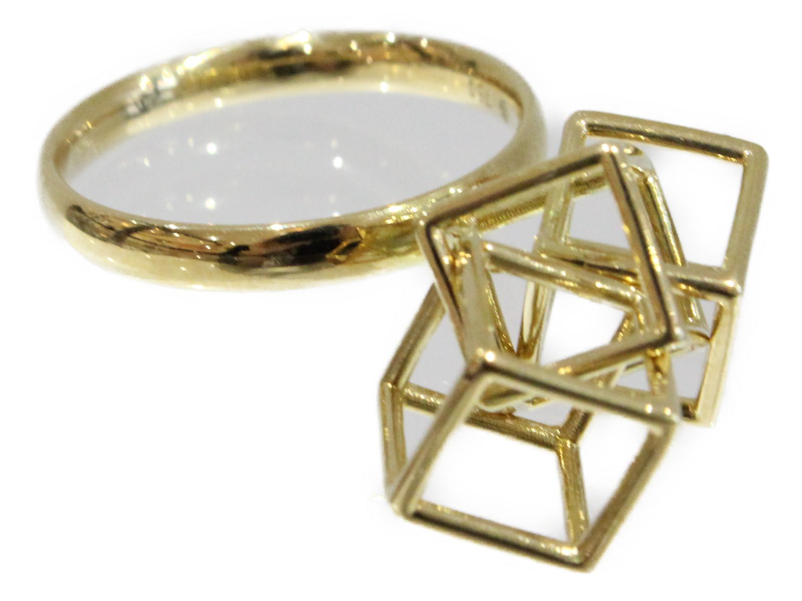 【箱・保証書あり】MITSUHIRO キューブリング R5181442 イエローゴールド K18YG 4.89gレディース メンズ ウィメンズ 指輪 珍しい 高級 ブランド