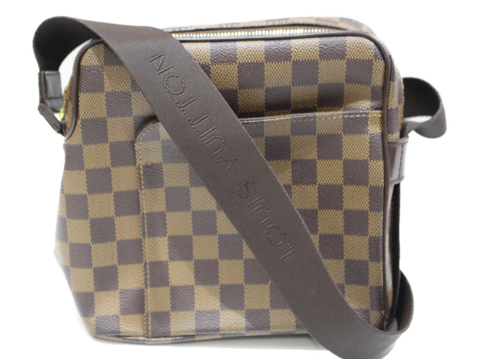 LOUIS VUITTON オラフPM N41442 テレビで話題 ダミエ エベヌ ブラウン×ベージュ コーティングキャンバス 有名な ショルダーバッグ メンズ ユニセックス 中古品 プレゼント包装可 レディース 中古 サブバッグ