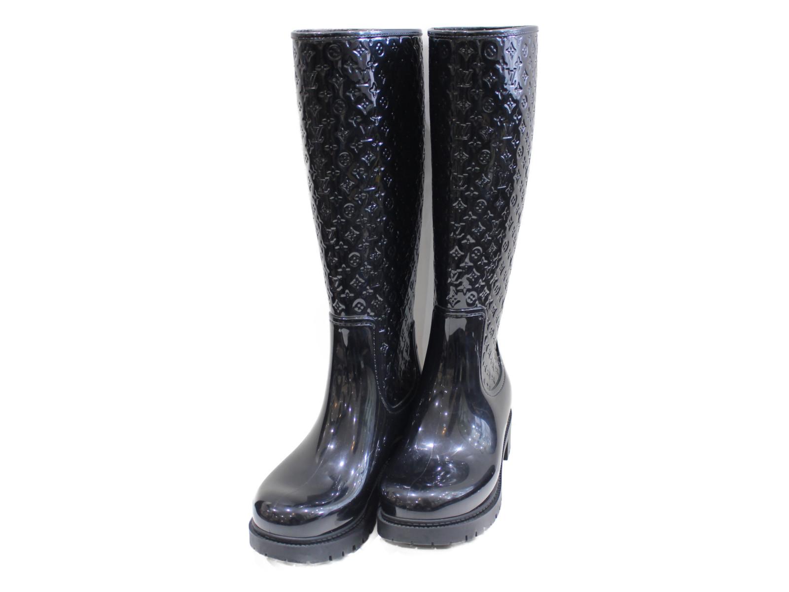 LOUIS VUITTON 靴レインブーツスプラッシュ 35XT6R1BG0 ブラック 約22cmシンプル レディース オシャレプレゼント包装可【中古】