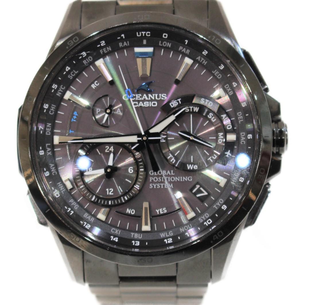 CASIO オシアナス OCW-G1000B-1AJF  チタン TITANIUM タフソーラー グレー系 ソーラー電波 クロノグラフ ストップウォッチ デイデイト メンズ ウィメンズ 腕時計 【中古】
