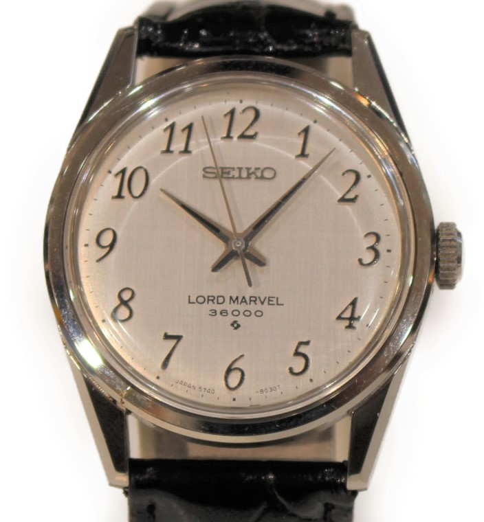 SEIKO ロードマーベル 36000 5740-8000  ステンレススチール SS 革 レザー ベルト 手巻き シルバー デイト 三針 メンズ ウィメンズ スーツ 紳士 腕時計 【中古】