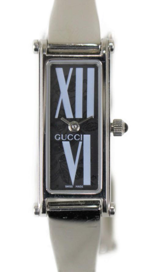 GUCCI クォーツ腕時計 YA015545  ステンレススチール SS クォーツ ブラック ホワイト 二針 アクセサリー ブレスレット レディース ウィメンズ プレゼント 腕時計 【中古】