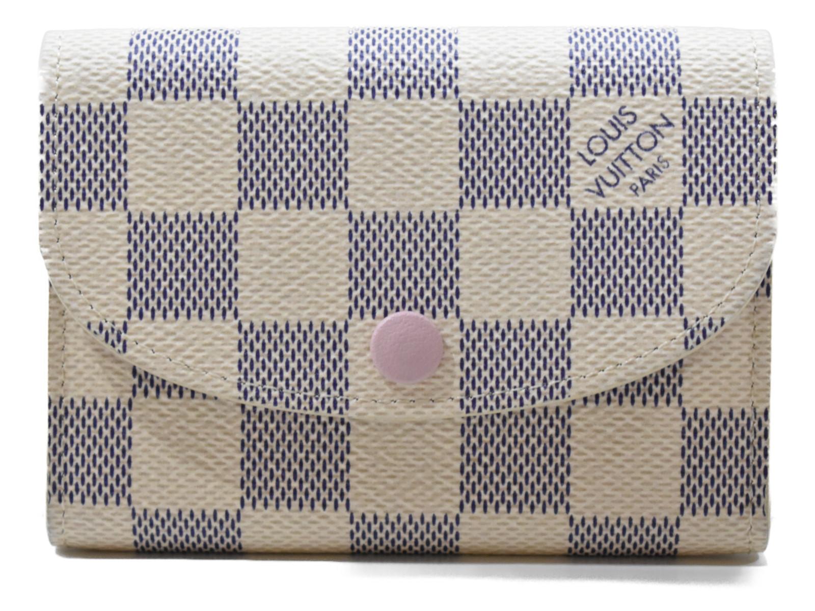 LOUISVUITTONポルトモネ・ロザリ N61276 ダミエアズール/ピンク系 コーティングキャンバス レディース メンズ ユニセックス ミニ財布 コンパクト財布 プレゼント包装可  【中古】