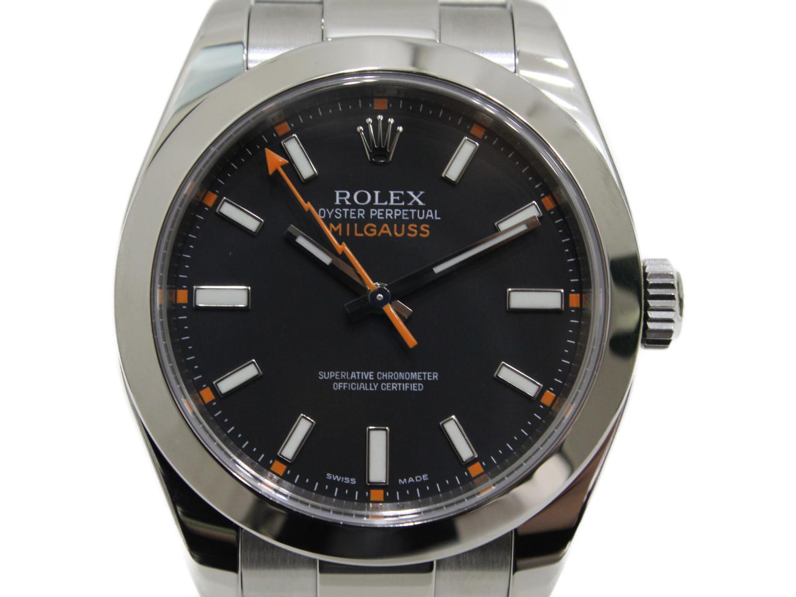 【OH済み】ROLEX ロレックス ミルガウス 116400 M番 2008年ギャラ SS ステンレススチール ブラック  メンズ 腕時計【中古】