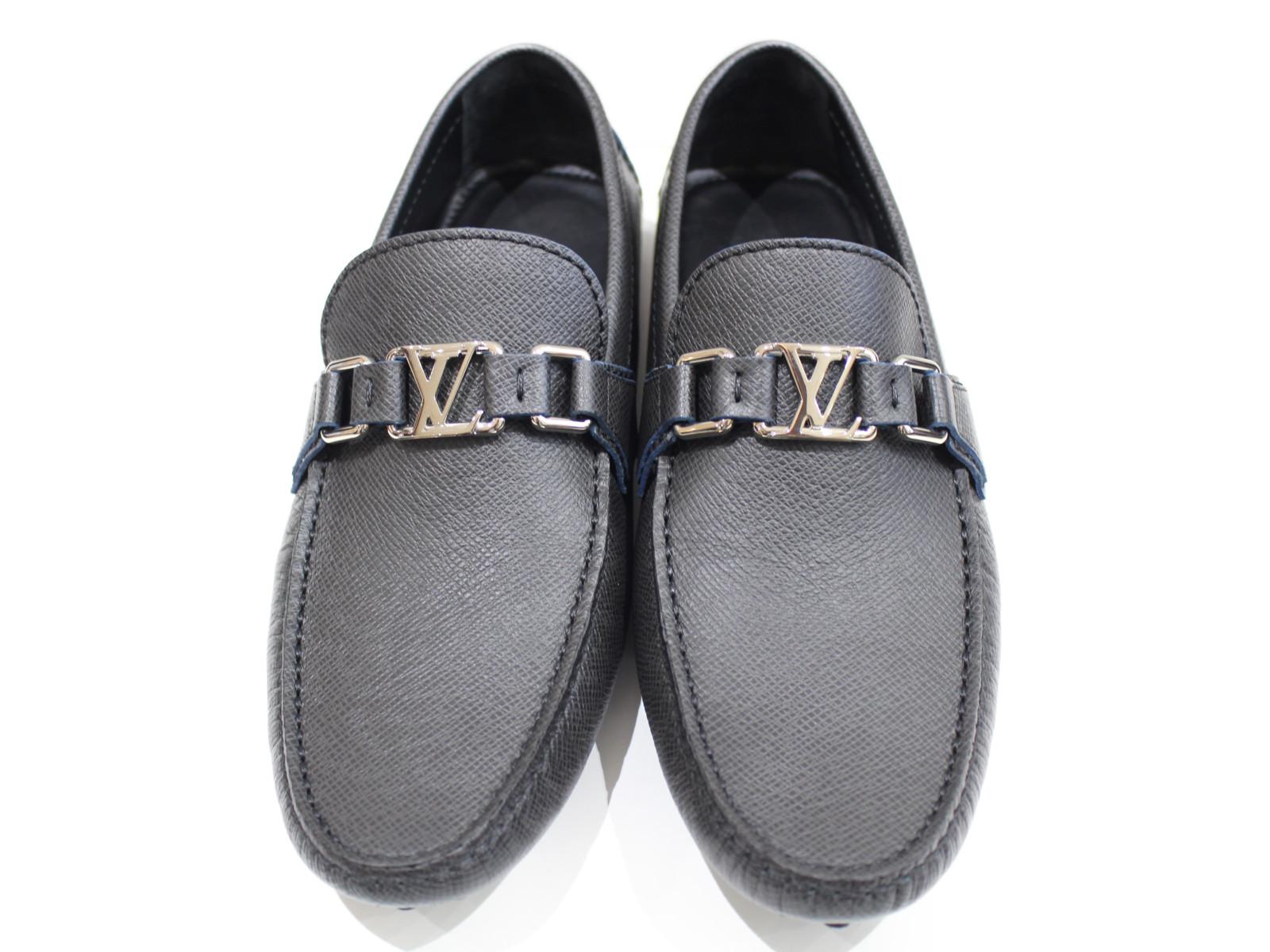 【箱有り★】 LOUIS VUITTON ホッケンハイム・ライン 1A4TW4 ブラック系 ブルーライン コーティングキャンバス  メンズ 靴 Mサイズ 美品 プレゼント包装可【中古品】