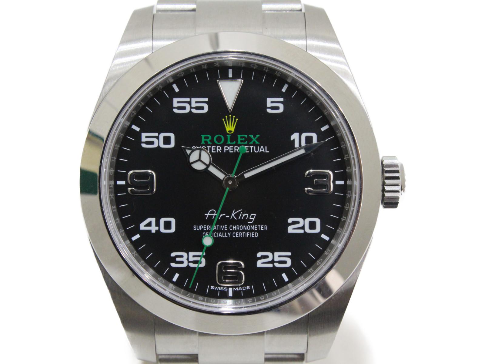 【2019年ギャラ】ROLEX ロレックス エアキング 116900 ランダム 自動巻き SS ステンレススチール ブラック メンズ 腕時計【中古】
