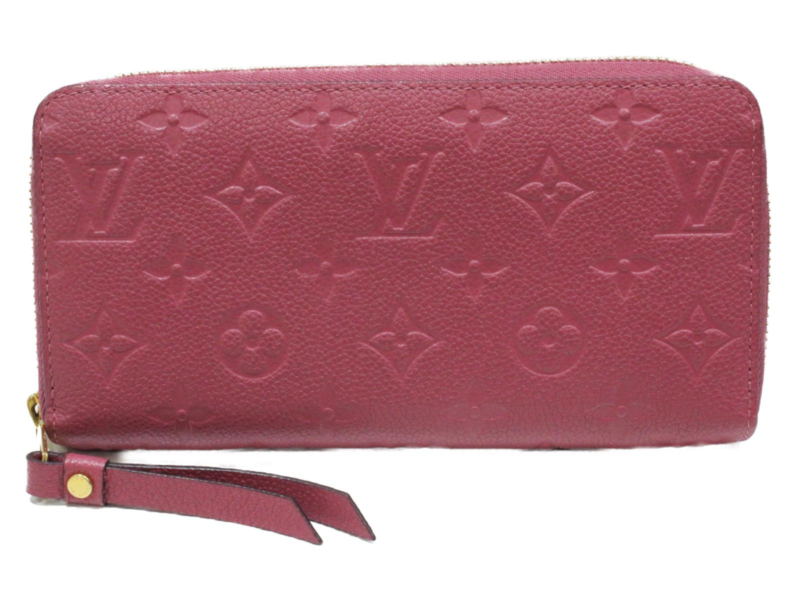LOUIS VITTON ジッピーウォレット M60549 アンプラント/ピンク レザー レディース メンズ ユニセックス 長財布 シンプル プレゼント包装可【中古】