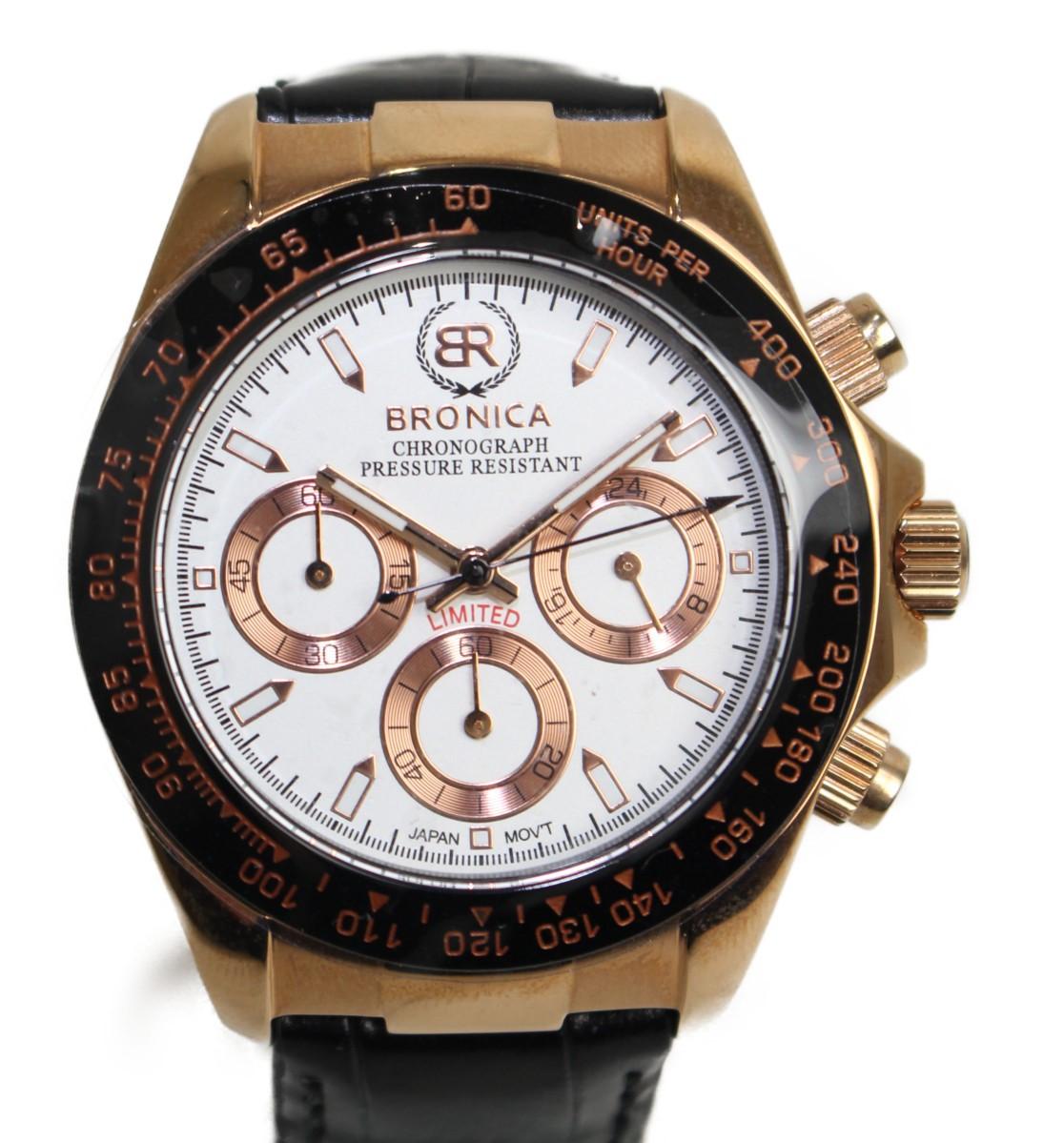 BRONICA クォーツ腕時計 BR 820R-WH  ステンレススチール SS PG メッキ ピンクゴールド 革 レザー ベルト クォーツ ホワイト クロノグラフ 24時間針 カッコイイ メンズ ウィメンズ 腕時計 【中古】