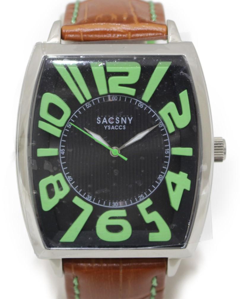 革 メンズ レザー 派手 目立つ ブラック×グリーン 腕時計 クォーツ腕時計 クォーツ SACCSNY ベルト SYA-15109-BKGR ウィメンズ レディース  SS 【中古】 Y'SACCS 3針  ステンレススチール