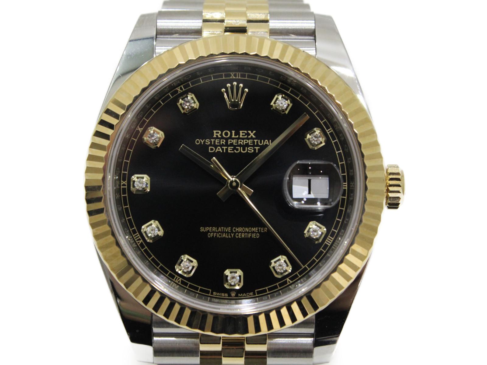 【2019年ギャラ】ROLEX ロレックス デイトジャスト41 126333G ランダム 自動巻き デイト コンビ 10Pダイヤ K18YG SS ブラック メンズ 腕時計【中古】