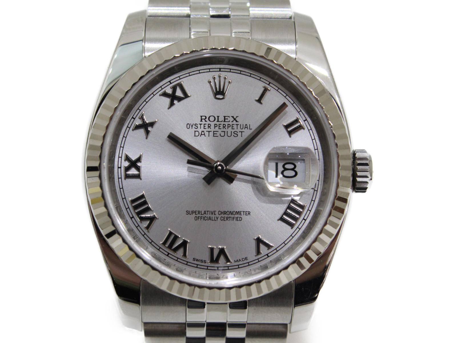 ROLEX ロレックス デイトジャスト 116234 ランダム 2014年 自動巻き デイト K18WG SS シルバー メンズ 腕時計【中古】